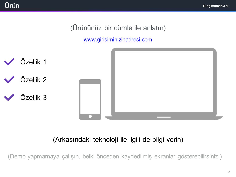 Ürün Girişiminizin Adı (Ürününüz bir cümle ile anlatın) www.girisiminizinadresi.com Özellik 1 Özellik 2 Özellik 3 5 (Demo yapmamaya çalışın, belki önceden kaydedilmiş ekranlar gösterebilirsiniz.) (Arkasındaki teknoloji ile ilgili de bilgi verin)