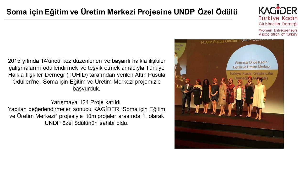 Soma için Eğitim ve Üretim Merkezi Projesine UNDP Özel Ödülü 2015 yılında 14'üncü kez düzenlenen ve başarılı halkla ilişkiler çalışmalarını ödüllendirmek ve teşvik etmek amacıyla Türkiye Halkla İlişkiler Derneği (TÜHİD) tarafından verilen Altın Pusula Ödülleri'ne, Soma için Eğitim ve Üretim Merkezi projemizle başvurduk.