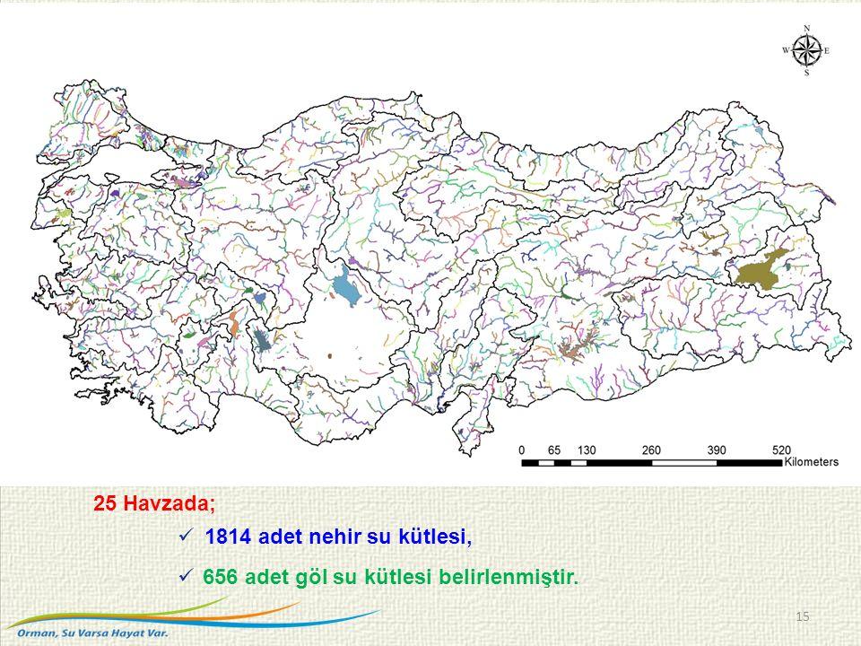 25 Havzada; 1814 adet nehir su kütlesi, 656 adet göl su kütlesi belirlenmiştir. 15