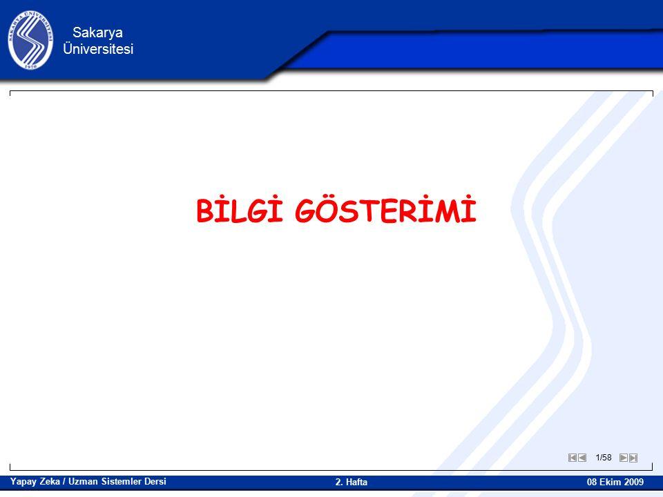 1/58 Sakarya Üniversitesi Yapay Zeka / Uzman Sistemler Dersi 08 Ekim 2009 2. Hafta BİLGİ GÖSTERİMİ
