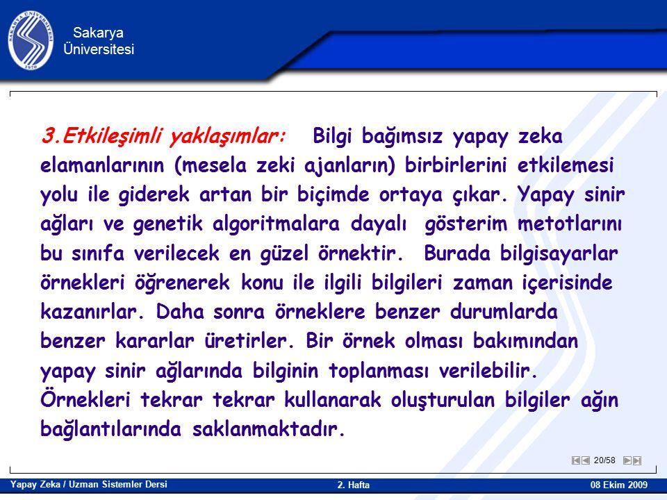 20/58 Sakarya Üniversitesi Yapay Zeka / Uzman Sistemler Dersi 08 Ekim 2009 2.