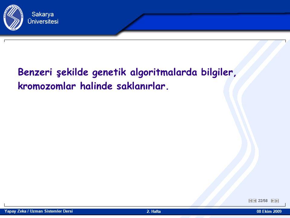 22/58 Sakarya Üniversitesi Yapay Zeka / Uzman Sistemler Dersi 08 Ekim 2009 2.