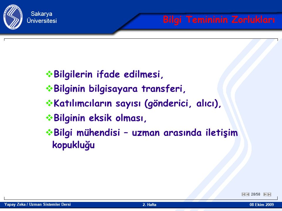 28/58 Sakarya Üniversitesi Yapay Zeka / Uzman Sistemler Dersi 08 Ekim 2009 2.