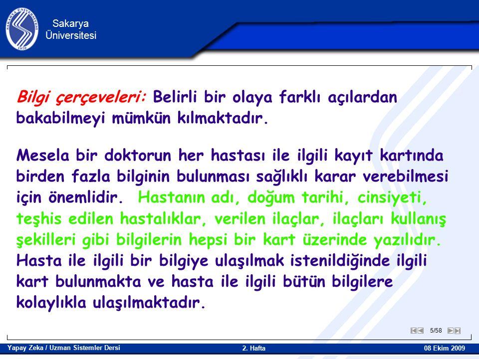 6/58 Sakarya Üniversitesi Yapay Zeka / Uzman Sistemler Dersi 08 Ekim 2009 2.