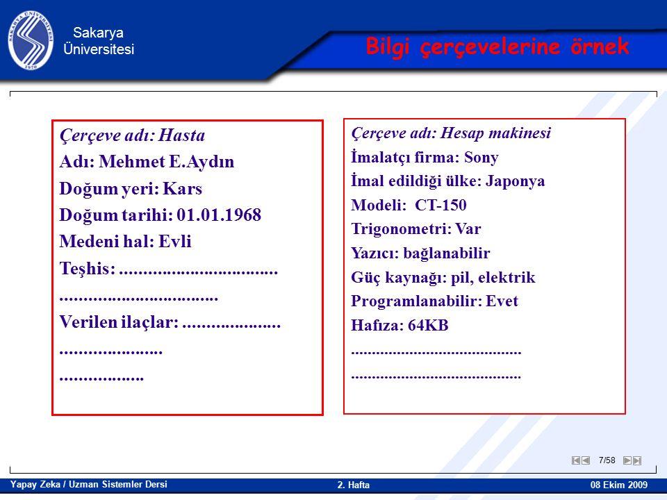 8/58 Sakarya Üniversitesi Yapay Zeka / Uzman Sistemler Dersi 08 Ekim 2009 2.