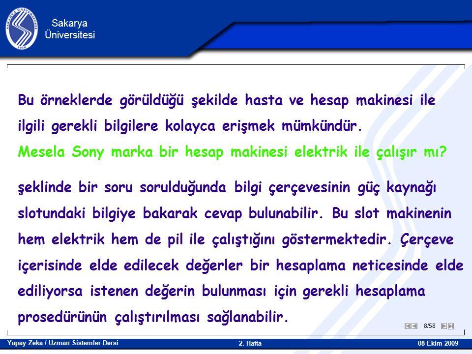 19/58 Sakarya Üniversitesi Yapay Zeka / Uzman Sistemler Dersi 08 Ekim 2009 2.