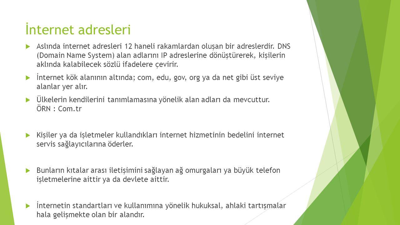 İnternet adresleri  Aslında internet adresleri 12 haneli rakamlardan oluşan bir adreslerdir.