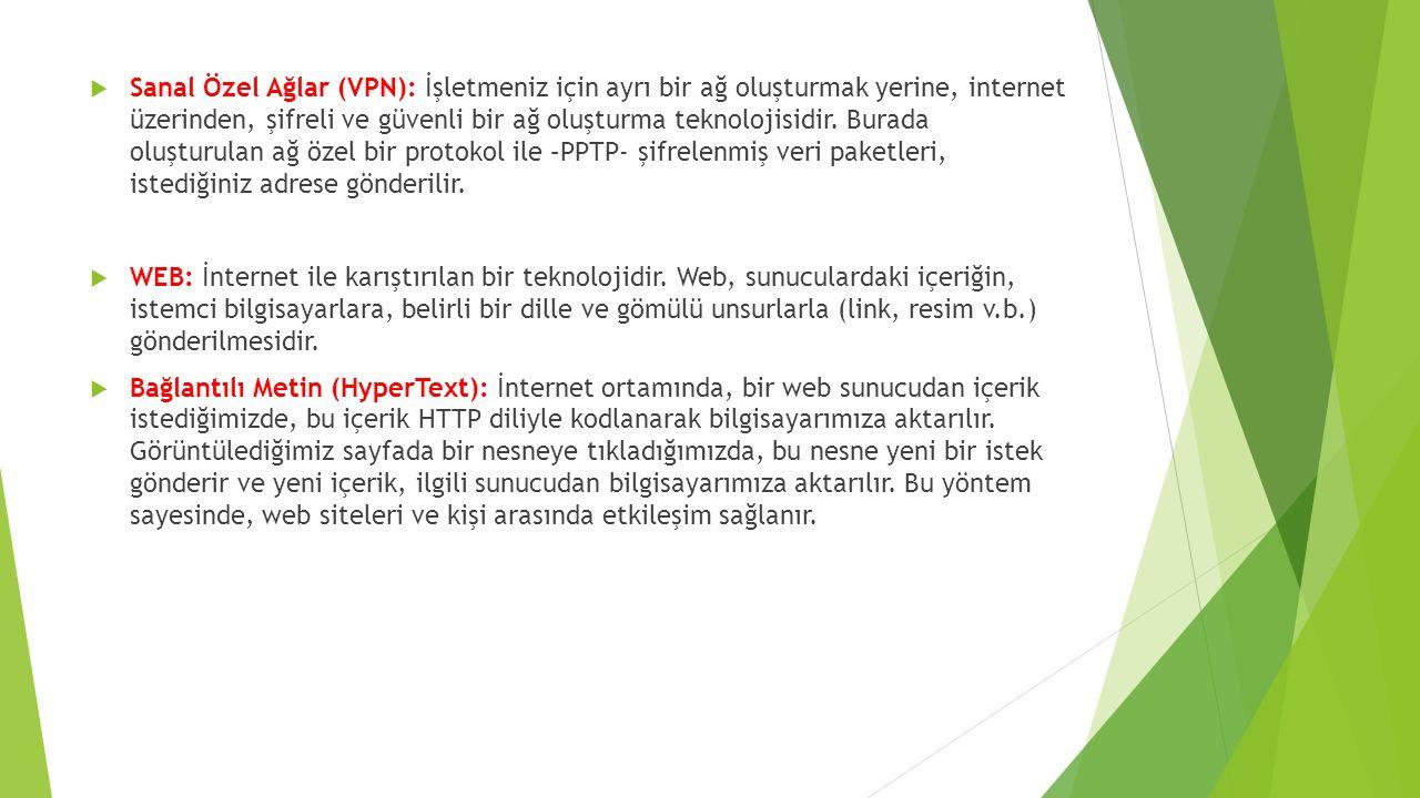  Sanal Özel Ağlar (VPN): İşletmeniz için ayrı bir ağ oluşturmak yerine, internet üzerinden, şifreli ve güvenli bir ağ oluşturma teknolojisidir.