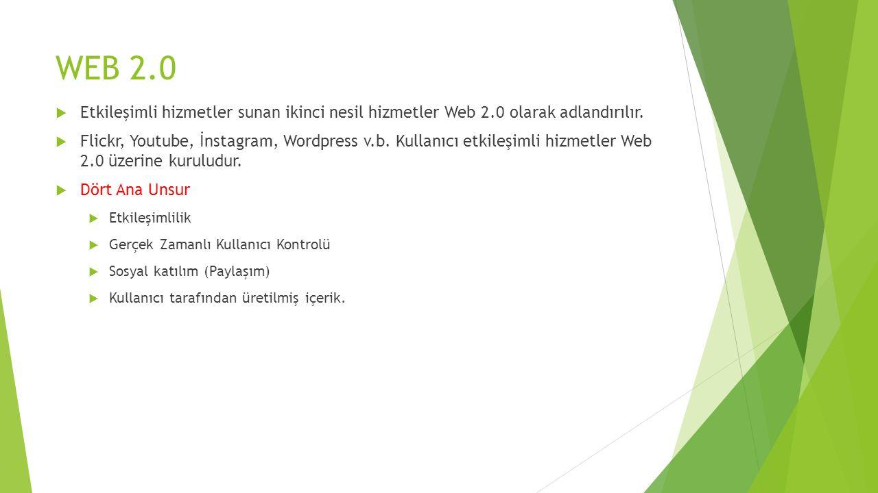 WEB 2.0  Etkileşimli hizmetler sunan ikinci nesil hizmetler Web 2.0 olarak adlandırılır.