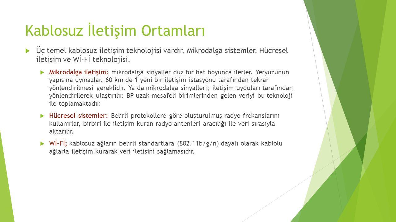 Kablosuz İletişim Ortamları  Üç temel kablosuz iletişim teknolojisi vardır.