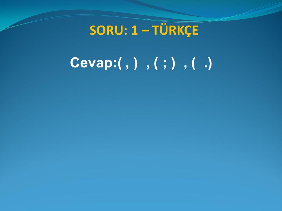 SORU: 1 – TÜRKÇE Cevap:(, ), ( ; ), (.)