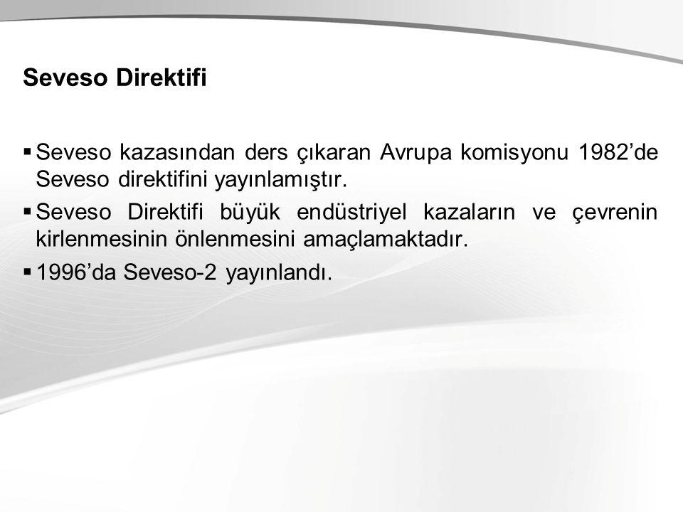 Seveso Direktifi  Seveso kazasından ders çıkaran Avrupa komisyonu 1982'de Seveso direktifini yayınlamıştır.