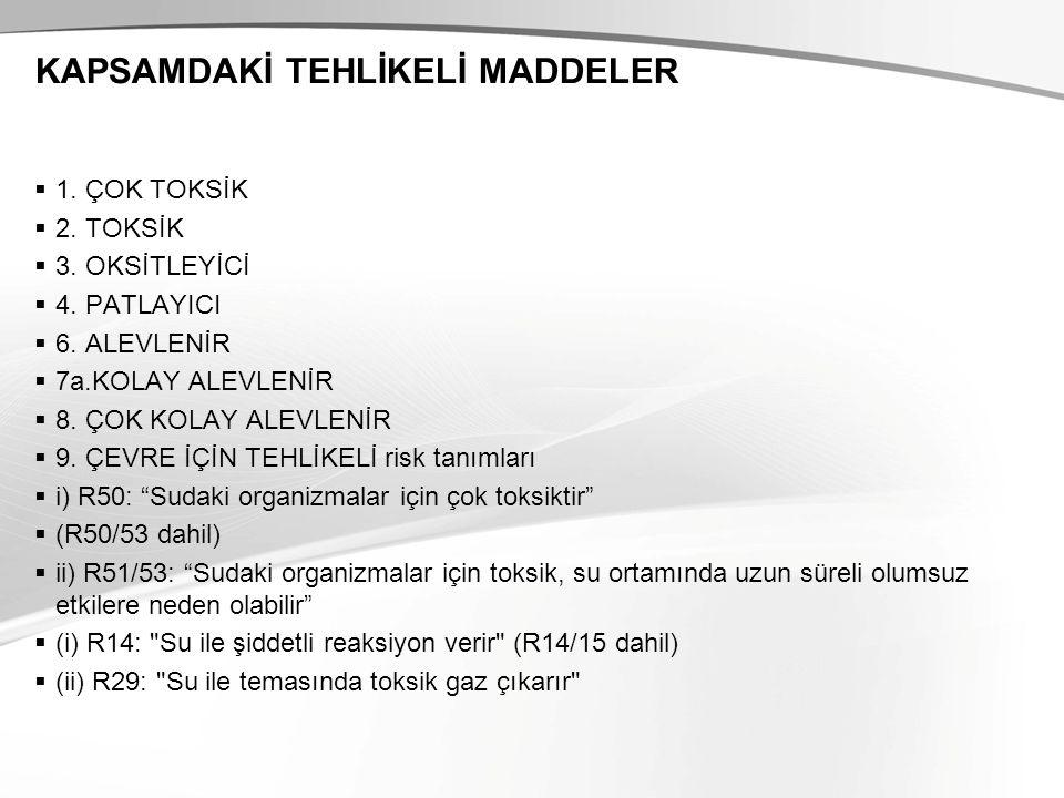 KAPSAMDAKİ TEHLİKELİ MADDELER  1.ÇOK TOKSİK  2.