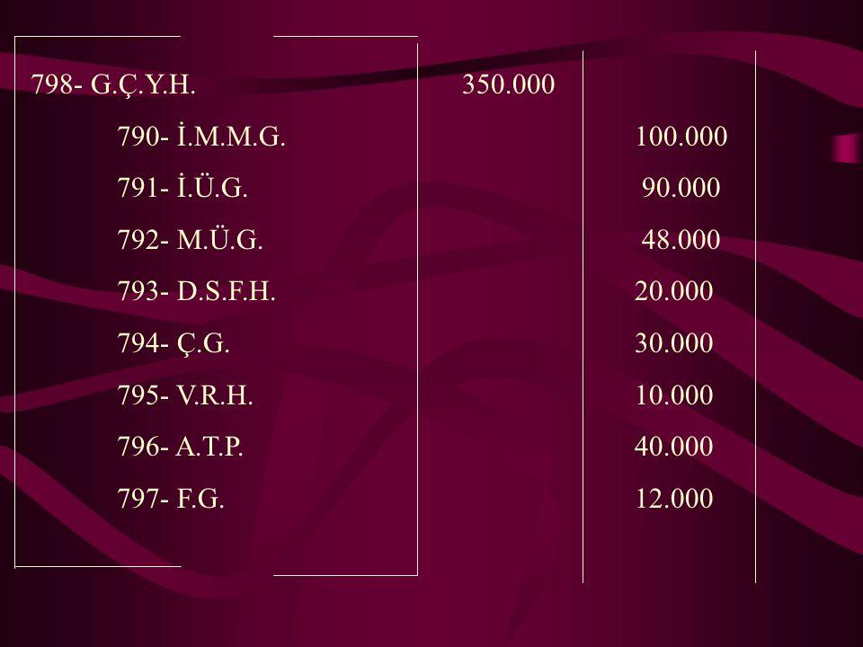 798- G.Ç.Y.H.350.000 790- İ.M.M.G.100.000 791- İ.Ü.G.