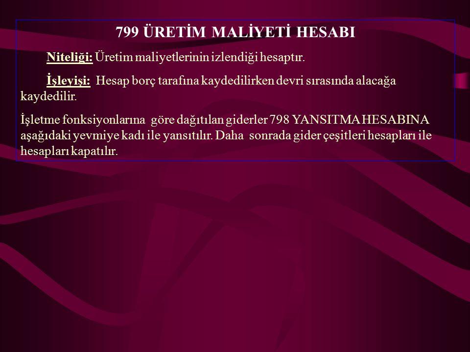 799 ÜRETİM MALİYETİ HESABI Niteliği: Üretim maliyetlerinin izlendiği hesaptır.