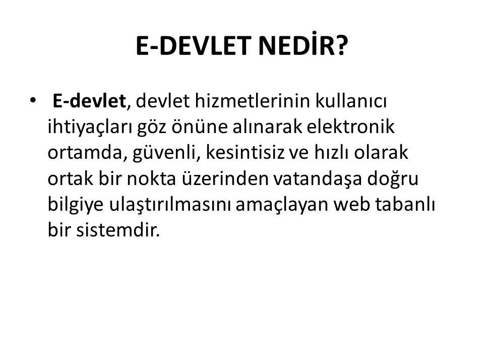 E-DEVLET NEDİR.