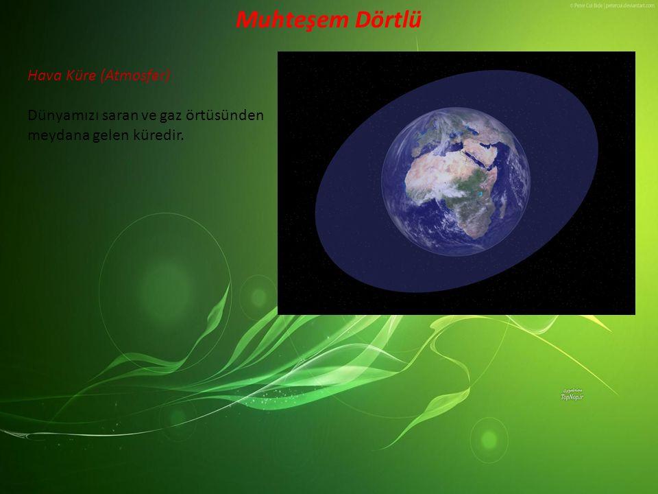 Hava Küre (Atmosfer) Dünyamızı saran ve gaz örtüsünden meydana gelen küredir. Muhteşem Dörtlü