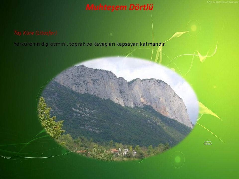 Taş Küre (Litosfer) Muhteşem Dörtlü Yerkürenin dış kısmını, toprak ve kayaçları kapsayan katmandır.