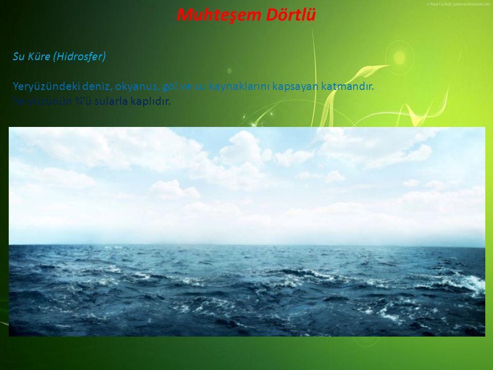 Su Küre (Hidrosfer) Yeryüzündeki deniz, okyanus, göl ve su kaynaklarını kapsayan katmandır. Yeryüzünün ¾'ü sularla kaplıdır. Muhteşem Dörtlü