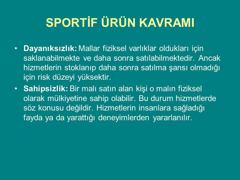 SPORTİF ÜRÜN KAVRAMI Sportif Ürün Doğrusu