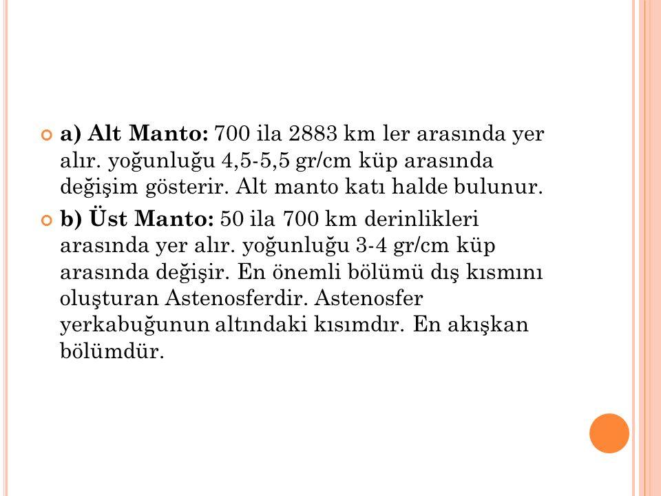 a) Alt Manto: 700 ila 2883 km ler arasında yer alır.