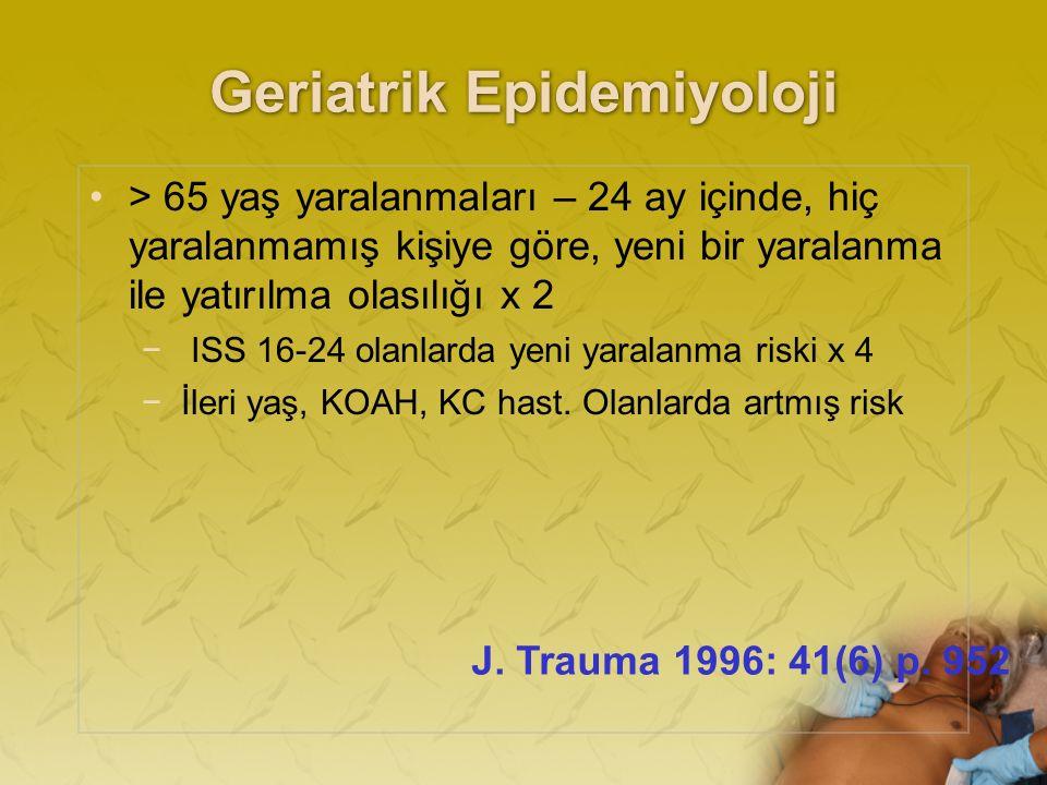 Geriatrik Epidemiyoloji > 65 yaş yaralanmaları – 24 ay içinde, hiç yaralanmamış kişiye göre, yeni bir yaralanma ile yatırılma olasılığı x 2 − ISS 16-24 olanlarda yeni yaralanma riski x 4 −İleri yaş, KOAH, KC hast.