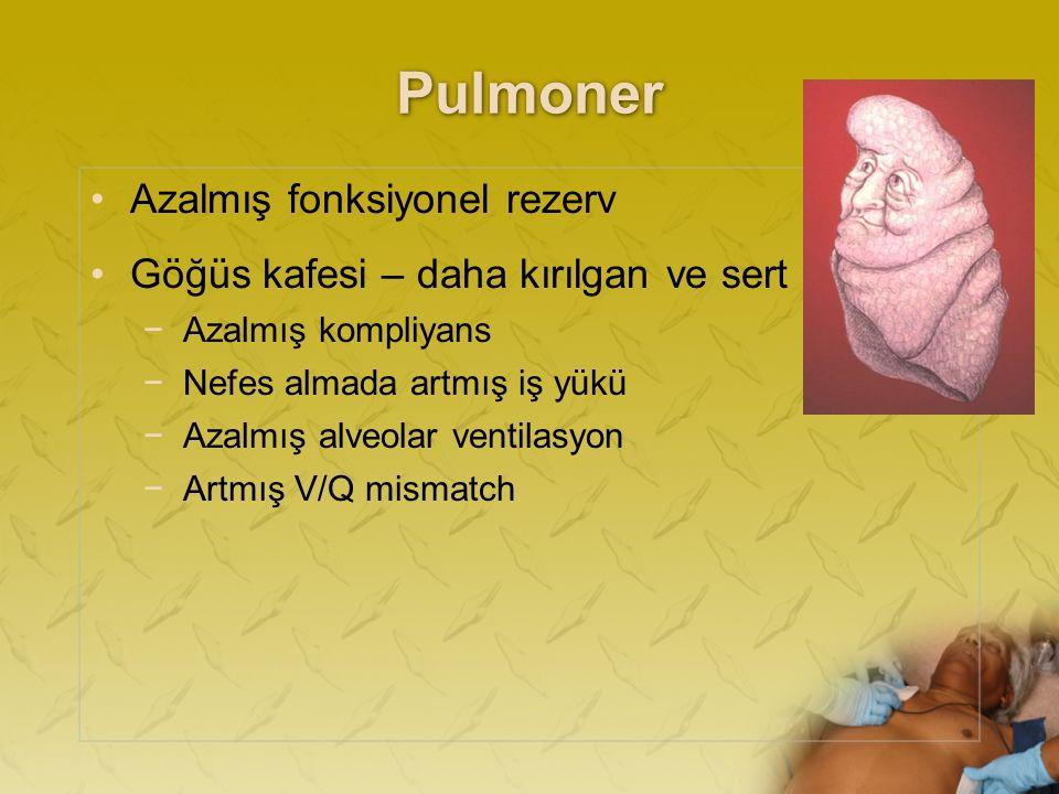 Pulmoner Azalmış fonksiyonel rezerv Göğüs kafesi – daha kırılgan ve sert −Azalmış kompliyans −Nefes almada artmış iş yükü −Azalmış alveolar ventilasyon −Artmış V/Q mismatch