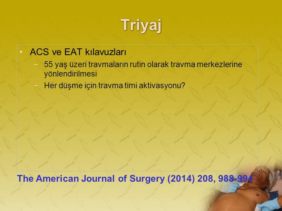 Triyaj ACS ve EAT kılavuzları −55 yaş üzeri travmaların rutin olarak travma merkezlerine yönlendirilmesi −Her düşme için travma timi aktivasyonu.