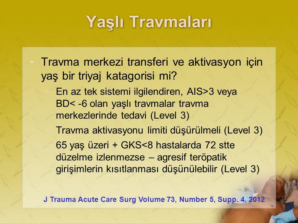 Yaşlı Travmaları Travma merkezi transferi ve aktivasyon için yaş bir triyaj katagorisi mi.