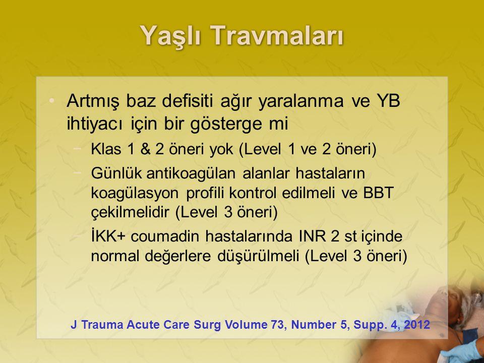 Yaşlı Travmaları Artmış baz defisiti ağır yaralanma ve YB ihtiyacı için bir gösterge mi −Klas 1 & 2 öneri yok (Level 1 ve 2 öneri) −Günlük antikoagülan alanlar hastaların koagülasyon profili kontrol edilmeli ve BBT çekilmelidir (Level 3 öneri) −İKK+ coumadin hastalarında INR 2 st içinde normal değerlere düşürülmeli (Level 3 öneri) J Trauma Acute Care Surg Volume 73, Number 5, Supp.