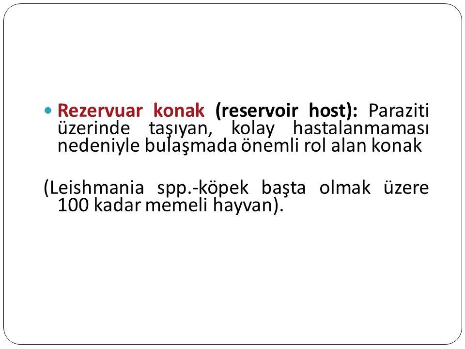 Rezervuar konak (reservoir host): Paraziti üzerinde taşıyan, kolay hastalanmaması nedeniyle bulaşmada önemli rol alan konak (Leishmania spp.-köpek baş