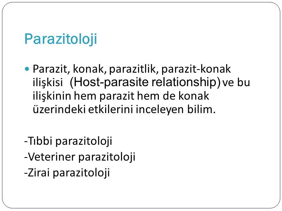 Parazitoloji Parazit, konak, parazitlik, parazit-konak ilişkisi (Host-parasite relationship) ve bu ilişkinin hem parazit hem de konak üzerindeki etkil