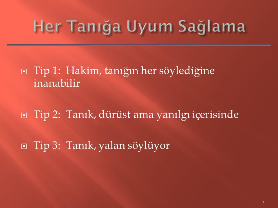  Tip 1: Hakim, tanığın her söylediğine inanabilir  Tip 2: Tanık, dürüst ama yanılgı içerisinde  Tip 3: Tanık, yalan söylüyor 5