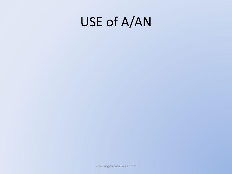 USE of A/AN www.ingilizcebankasi.com