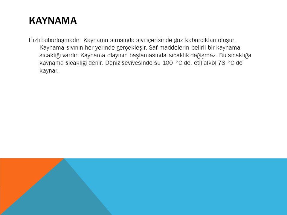 KAYNAMA Hızlı buharlaşmadır. Kaynama sırasında sıvı içerisinde gaz kabarcıkları oluşur.