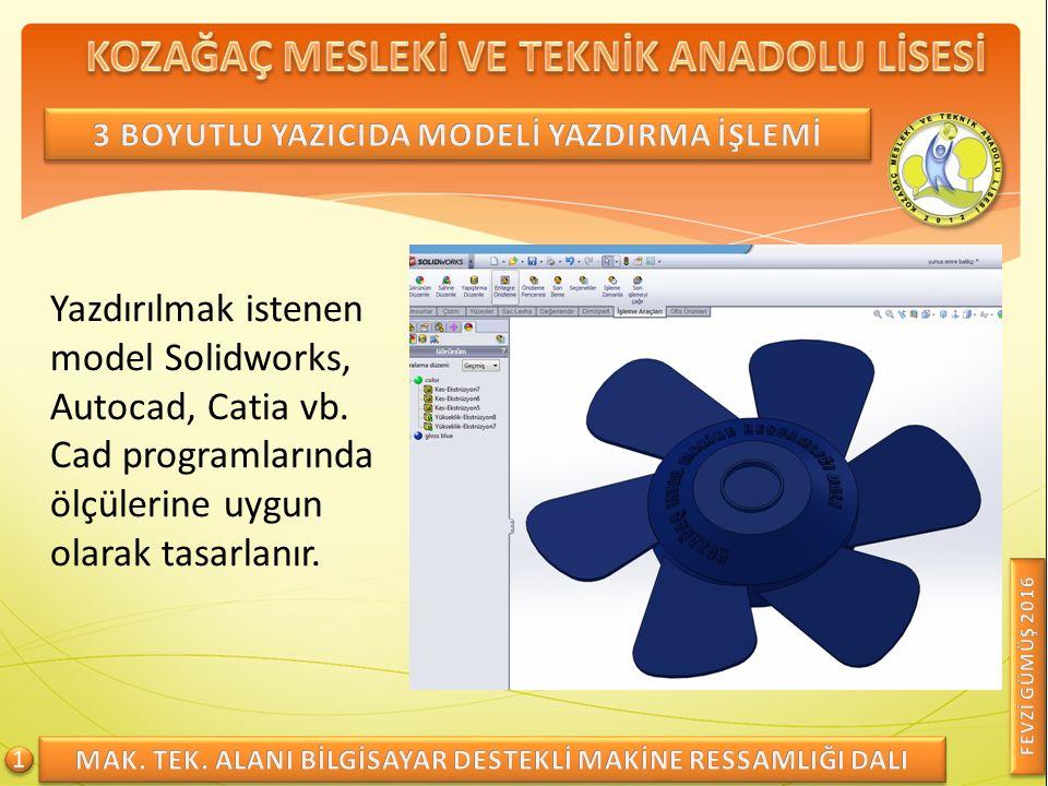 Yazdırılmak istenen model Solidworks, Autocad, Catia vb.