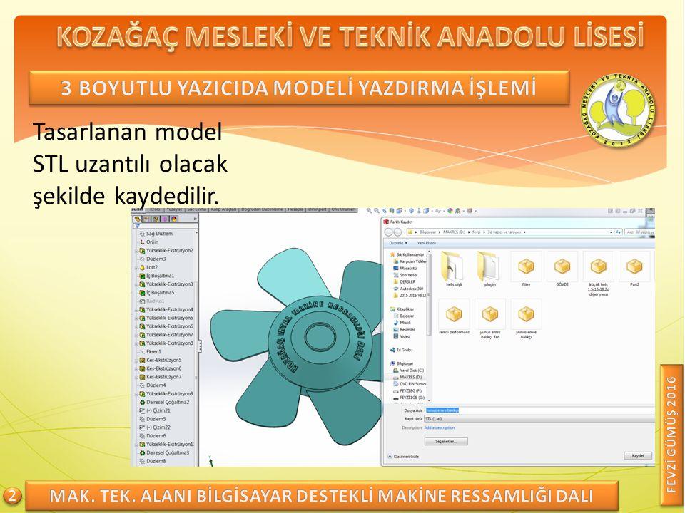 Tasarlanan model STL uzantılı olacak şekilde kaydedilir. 2 2
