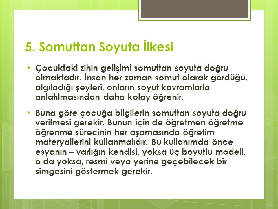 5. Somuttan Soyuta İlkesi Çocuktaki zihin gelişimi somuttan soyuta doğru olmaktadır.