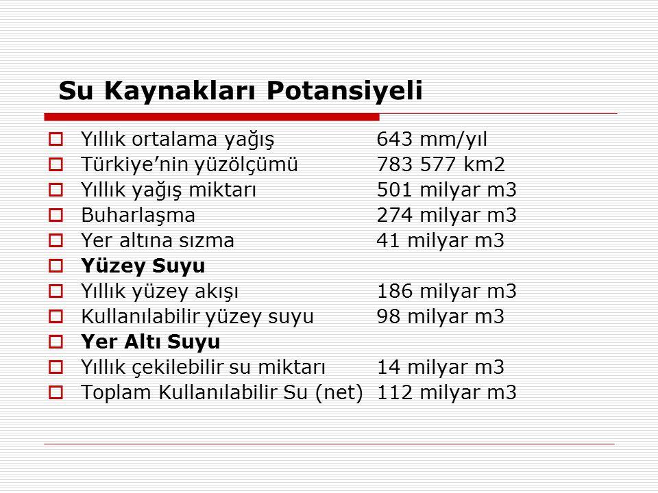 Su Kaynakları Potansiyeli  Yıllık ortalama yağış 643 mm/yıl  Türkiye'nin yüzölçümü 783 577 km2  Yıllık yağış miktarı 501 milyar m3  Buharlaşma 274 milyar m3  Yer altına sızma 41 milyar m3  Yüzey Suyu  Yıllık yüzey akışı 186 milyar m3  Kullanılabilir yüzey suyu 98 milyar m3  Yer Altı Suyu  Yıllık çekilebilir su miktarı 14 milyar m3  Toplam Kullanılabilir Su (net) 112 milyar m3