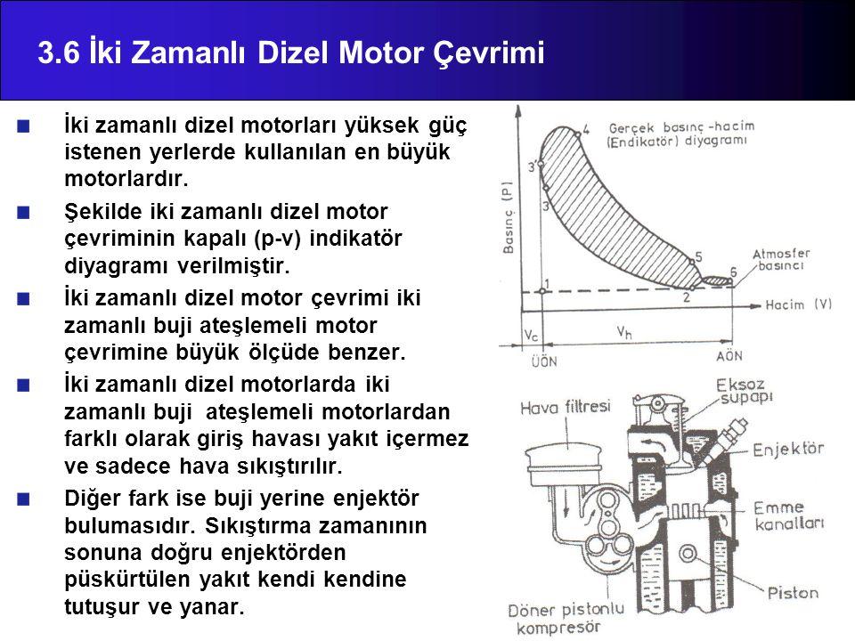 3.6 İki Zamanlı Dizel Motor Çevrimi İki zamanlı dizel motorları yüksek güç istenen yerlerde kullanılan en büyük motorlardır.