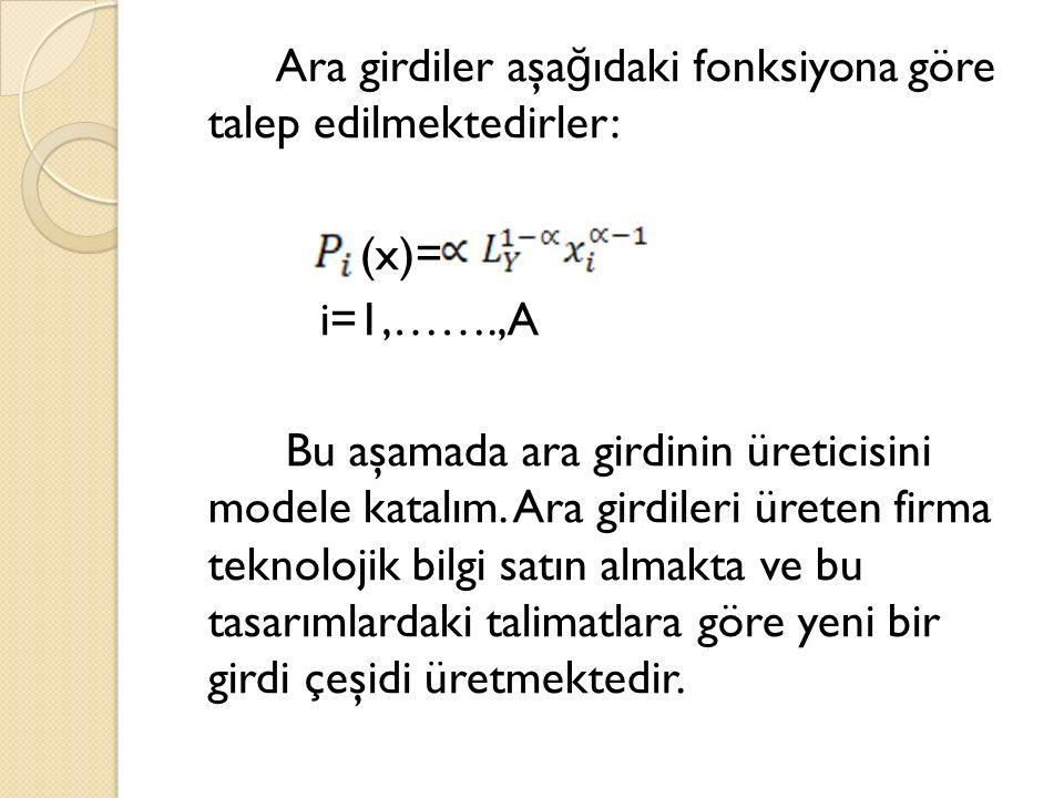 Ara girdiler aşa ğ ıdaki fonksiyona göre talep edilmektedirler: (x)= i=1,…….,A Bu aşamada ara girdinin üreticisini modele katalım.