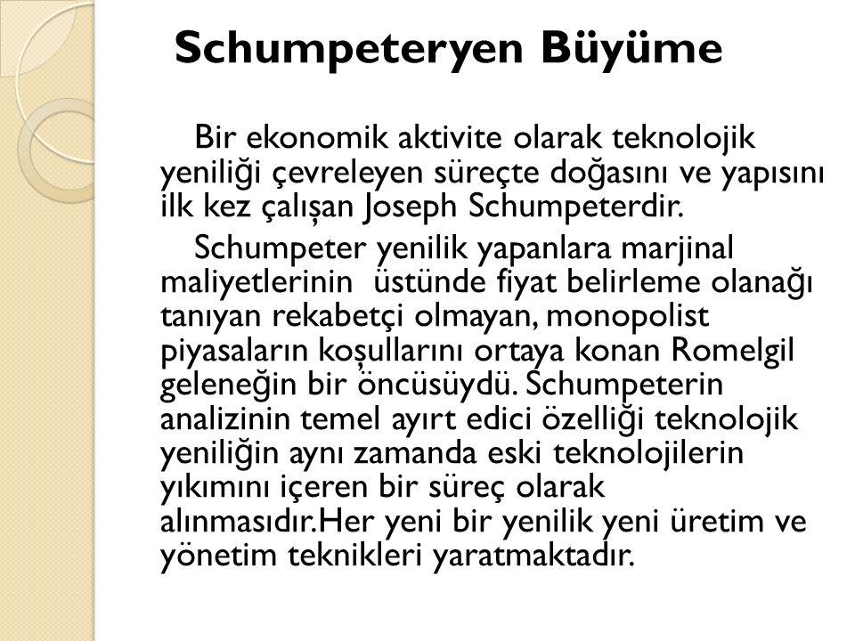 Schumpeteryen Büyüme Bir ekonomik aktivite olarak teknolojik yenili ğ i çevreleyen süreçte do ğ asını ve yapısını ilk kez çalışan Joseph Schumpeterdir.
