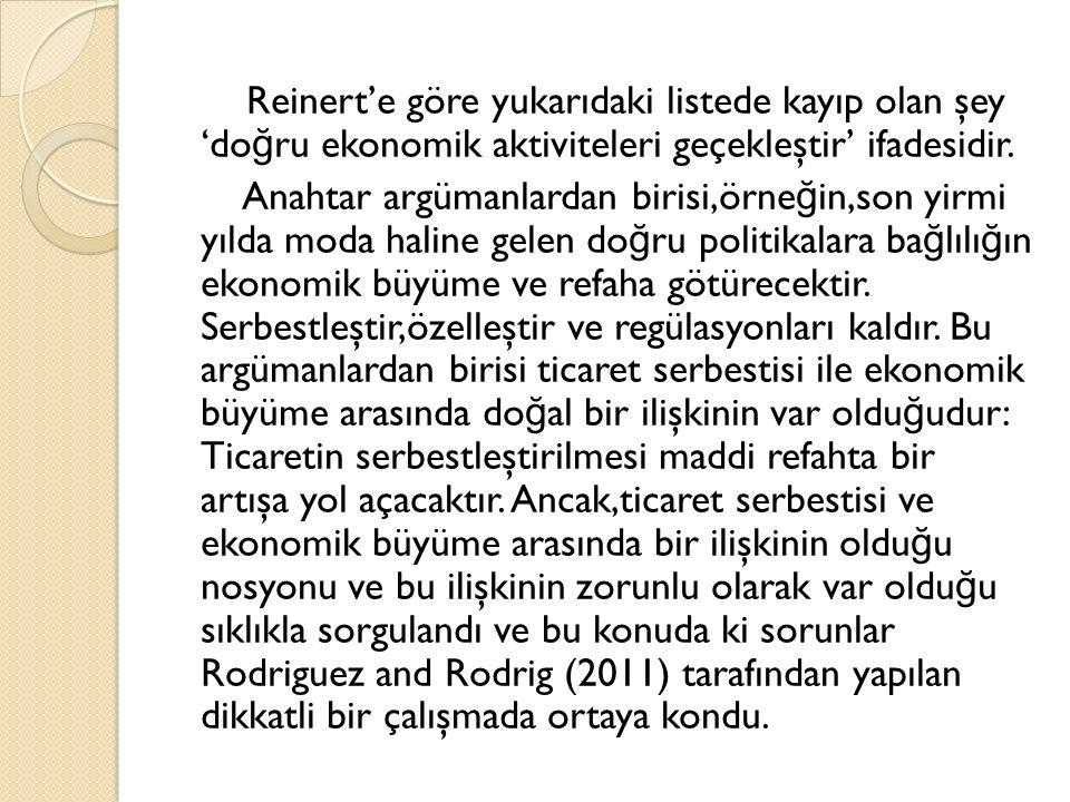 Reinert'e göre yukarıdaki listede kayıp olan şey 'do ğ ru ekonomik aktiviteleri geçekleştir' ifadesidir.