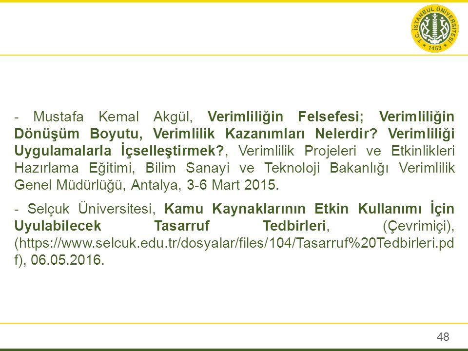 - Mustafa Kemal Akgül, Verimliliğin Felsefesi; Verimliliğin Dönüşüm Boyutu, Verimlilik Kazanımları Nelerdir.