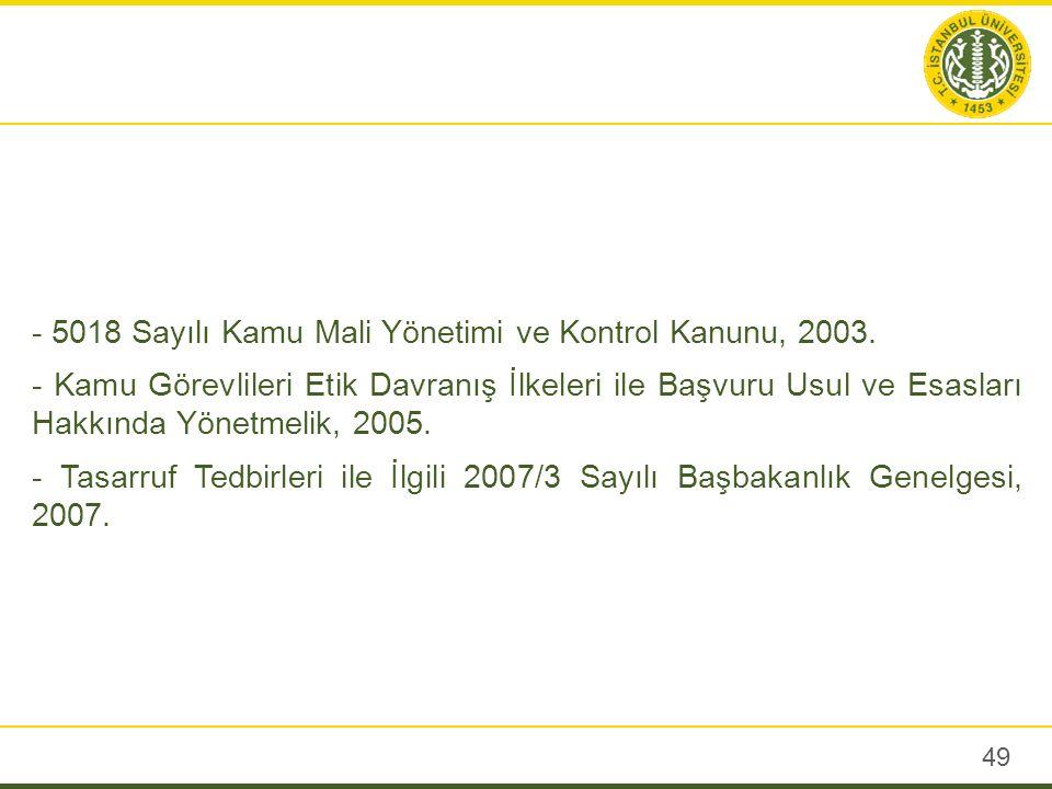 - 5018 Sayılı Kamu Mali Yönetimi ve Kontrol Kanunu, 2003.