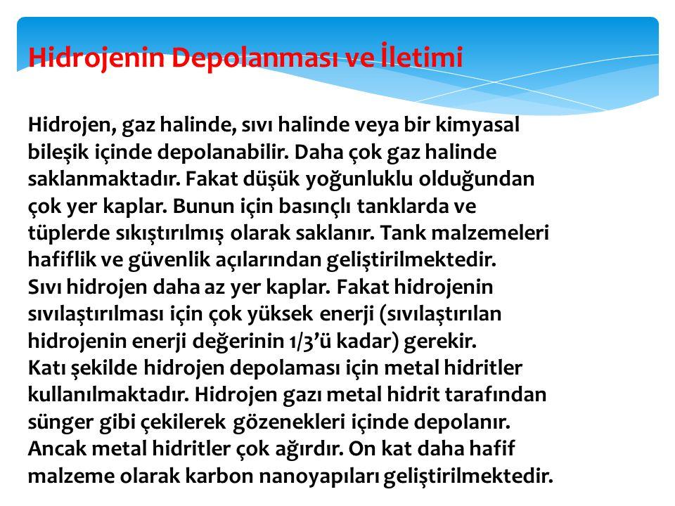 Hidrojenin Depolanması ve İletimi Hidrojen, gaz halinde, sıvı halinde veya bir kimyasal bileşik içinde depolanabilir. Daha çok gaz halinde saklanmakta
