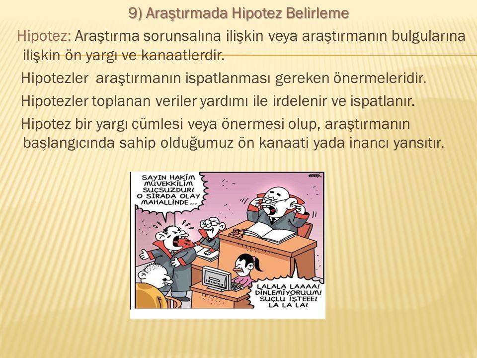 9) Araştırmada Hipotez Belirleme Hipotez: Araştırma sorunsalına ilişkin veya araştırmanın bulgularına ilişkin ön yargı ve kanaatlerdir. Hipotezler ara