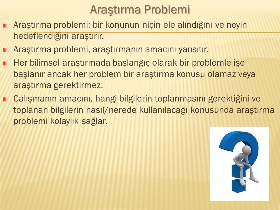 Araştırma Problemi Araştırma problemi: bir konunun niçin ele alındığını ve neyin hedeflendiğini araştırır. Araştırma problemi, araştırmanın amacını ya