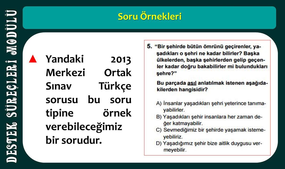 Soru Örnekleri ▲ Yandaki 2013 Merkezi Ortak Sınav Türkçe sorusu bu soru tipine örnek verebileceğimiz bir sorudur.
