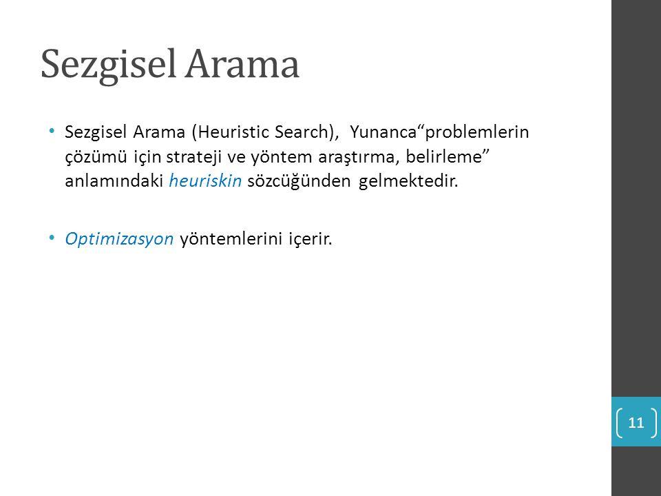 """Sezgisel Arama Sezgisel Arama (Heuristic Search), Yunanca""""problemlerin çözümü için strateji ve yöntem araştırma, belirleme"""" anlamındaki heuriskin sözc"""